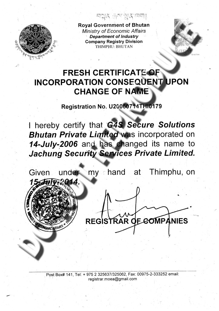 how to change name of incorporation