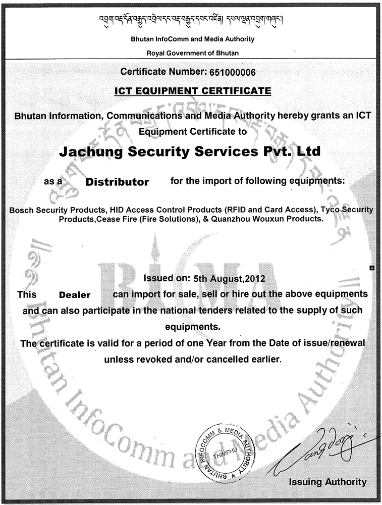ICT Dealer Certificate from BICMA